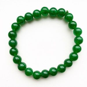 Vintage jade green beaded stretch bracelet